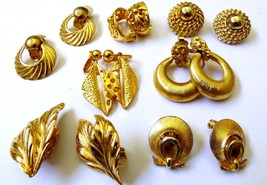 Lot of 7 gold tone metal fancy pretty fashion leaf shell Ring rope clip earrings - $19.01
