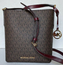 New Michael Kors Kimberly small bucket bag PVC with Leather Brown / Merlot - $105.00