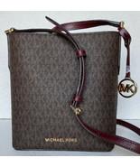 New Michael Kors Kimberly small bucket bag PVC with Leather Brown / Merlot - $105.00