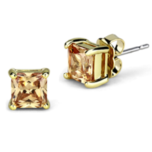 Women's Brass Rhodium CZ Brown Champagne 2.20(g) Stud Earrings - $11.70