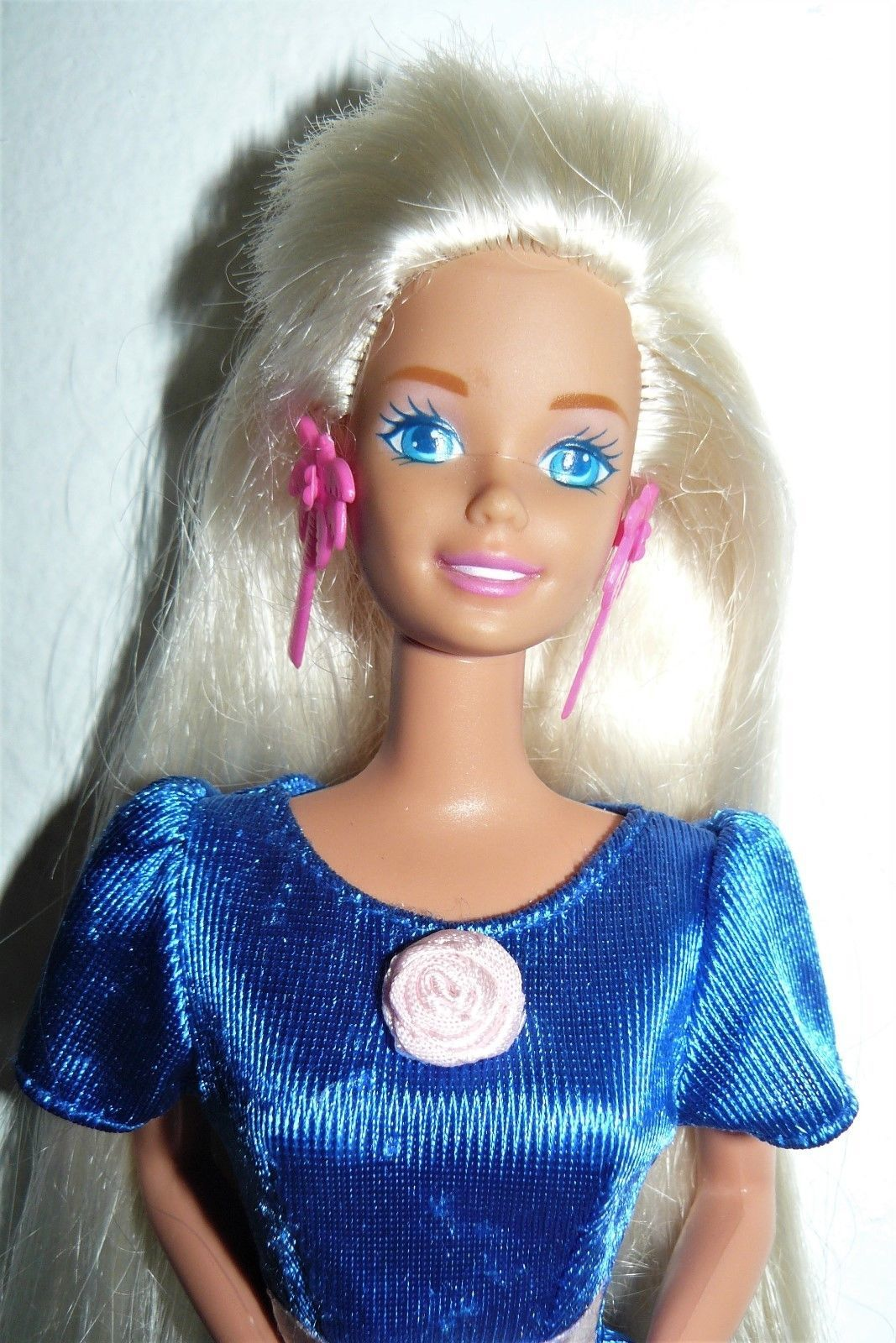 3211552958f5 Mattel 1970 s Twist  N Turn Barbie Doll blue satin dress pink earrings    shoes