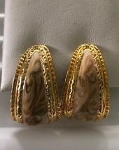 Vintage Cream & Brown Enamel Clip On Earrings - $3.75