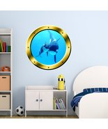 VWAQ Underwater Orca Whale Gold Window Porthole Peel And Stick Vinyl Wal... - $13.99