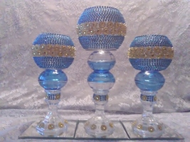 3pc. Light Blue & Gold  Candleholder Set - $78.09