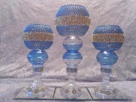 3pc. Light Blue & Gold  Candleholder Set - $78.09