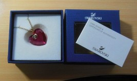 Signed Swarovski Reddish/Pink Crystal Heart Pendant Necklace New In Box - £94.20 GBP