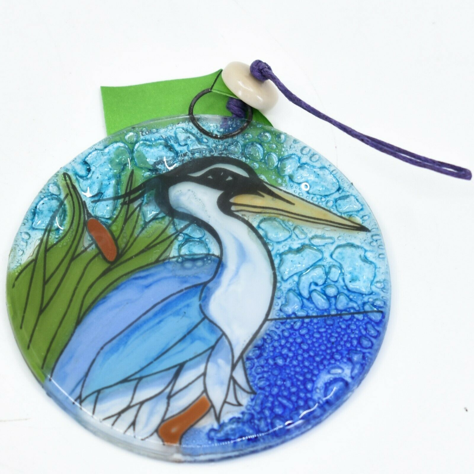 Blue Heron Aquatic Bird Fused Art Glass Ornament Sun Catcher Handmade Ecuador