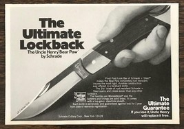 1979 Schrade Uncle Henry Bear Paw Lockback Knife Ad - $8.69
