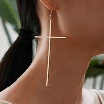 Cross Dangle Earrings Simple Fashion Women Exaggerate Elegant Cross Drop... - $8.71