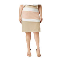 Calvin Klein Plus Size Color Blocked Pencil Skirt, Beige Combo, 16W - $44.54