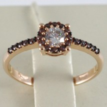 18K ROSE GOLD BAND RING, ETERNITY SOLITAIRE WITH ZIRCONIA, BROWN, MADE IN ITALY image 1
