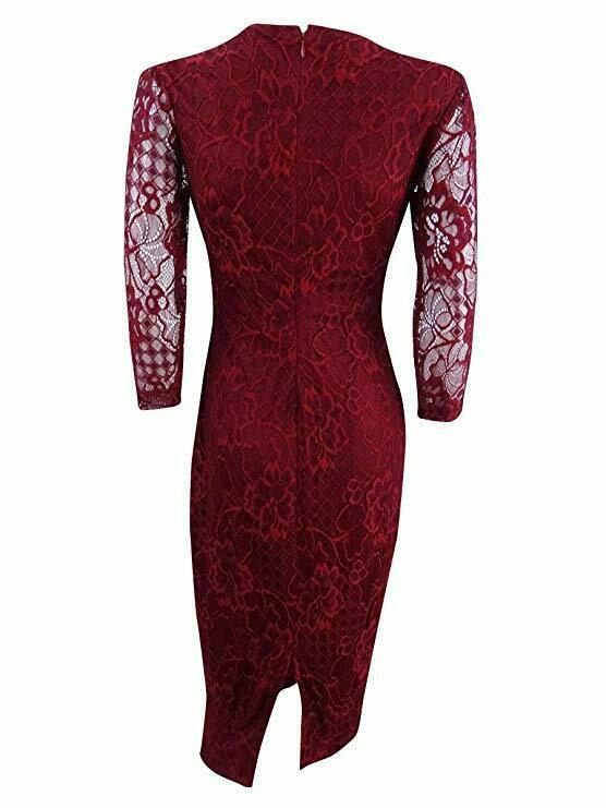 Jessica Simpson Women's Lace Midi Sheath Dress, Red, 2