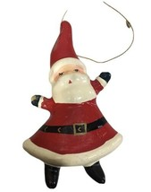 """Christmas Santa Claus Ornament Plastic 5"""" Red While Black Hands Wore - $14.03"""