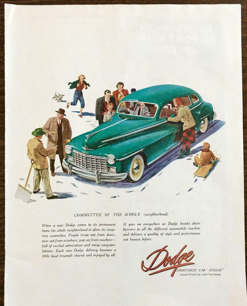 Primary image for 1947 Dodge Print Ad Smoothest Car Afloat Snow Winter Neighbors Sled Shoveling