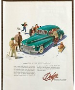 1947 Dodge Print Ad Smoothest Car Afloat Snow Winter Neighbors Sled Shov... - $11.69