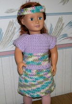 American Girl 3 Piece Crocheted Purple Outfit, Handmade. Skirt, Top, Hea... - $22.00