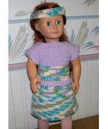 American Girl 3 Piece Crocheted Purple Outfit, Handmade. Skirt, Top, Hea... - $25.00