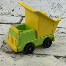 Vintage Fisher Price Little People Lift N Load Dump Truck Green Yellow - $13.86