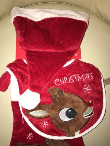 1690b0fd7ee Babys First Christmas Rudolph The Red Nosed Reindeer Bib Hat   Stocking Set  Soft