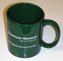 American General Green Ceramic Cup  Collectible From Springfield Illinois - $14.64