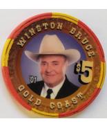 Las Vegas Rodeo Legend Winston Bruce '01 Gold Coast $5 Casino Poker Chip - $19.95