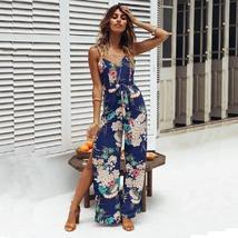 Boho Floral Print Spaghetti Strap Backless Women  Wide Leg Side Split Jumpsuit