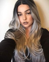 K'ryssma Ombre Gray 2 Tones Synthetic Lace Front Wig Dark Roots Long Nat... - $39.61