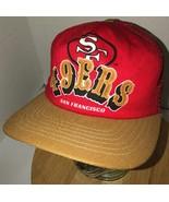 Vintage SAN FRANCISCO 49ers 80s USA New Era Gold Red Trucker Hat Cap Sna... - $46.95