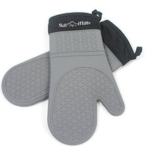 Grey Silicone Oven Mitts - 1 Pair of Extra Long Professional Heat Resist... - $75.62