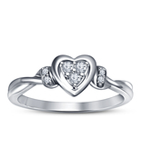 Round Cut CZ Heart Shape Wedding Ring 14k White Gold Plated 925 Sterling... - $53.99