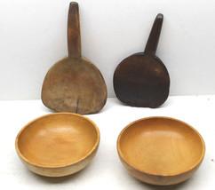 2 Antique Primitive Rosko Wood Wooden Bowls + 2 Artisan Spoons Made In J... - $51.41