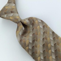 VAN HEUSEN JACQUARD GEOMETRIC BROWN Gold Beige Silk Men's Neck Tie  H3-4... - $19.79