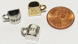HALF CUP OF COFFEE FINE PEWTER PENDANT CHARM - 12x9x6mm image 3