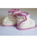Baby booties, cream with pink trim, soft merino yarn, button closure, 3-... - $17.00
