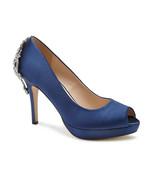Priscilla Navy Jeweled Paradox London Womens Bridal High Heel Peep Toe Pump - $74.00