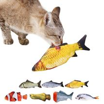 Electric Moving Fish Toy, Plush Interactive Cat Toy, Chew Bite Kick Toy ... - $26.89