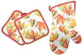 "Orange & Red Fall Autumn Leaves 3pc Oven Mitt Set - 13"" Oven Mitt & 7"" P... - $14.84"