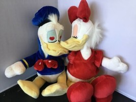 DISNEY DONALD DAISY PLUSH KISS KISSING SET DUCK C02 - $19.79