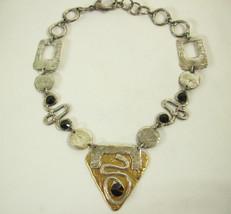 J Jansen Brutalist Modernist Silver Gold Black Rivoli Necklace Handcraft... - $69.25