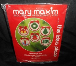 VINTAGE MARY MAXIM MAKES 6 CHRISTMAS TREE ORNAMENTS NEEDLECRAFT STITCH K... - $31.09