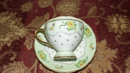 VINTAGE UCARGO JAPAN PORCELAIN TEA CUP AND SAUCER SET YELLOW ROSES GOLD ... - $9.89