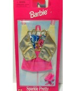 Barbie Sparkle Pretty Fashions Pink/Gold Party Dress W/Sparkly Pink Shoe... - $9.73