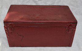 Tool Box Carpenter Tackle Handmade Wood Red Leather Chest 1940s 1950s Vi... - $64.35