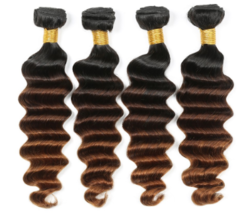 Brazilian Deep Wave Remy Human Hair 4 Bundles 1B/4/30 Omber 100% Remy Human Hair - $145.00+