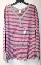 NEW WOMENS PLUS SIZE 4X 26W 28W PINK & GRAY STRIPED THERMAL HENLEY SHIRT... - $17.41