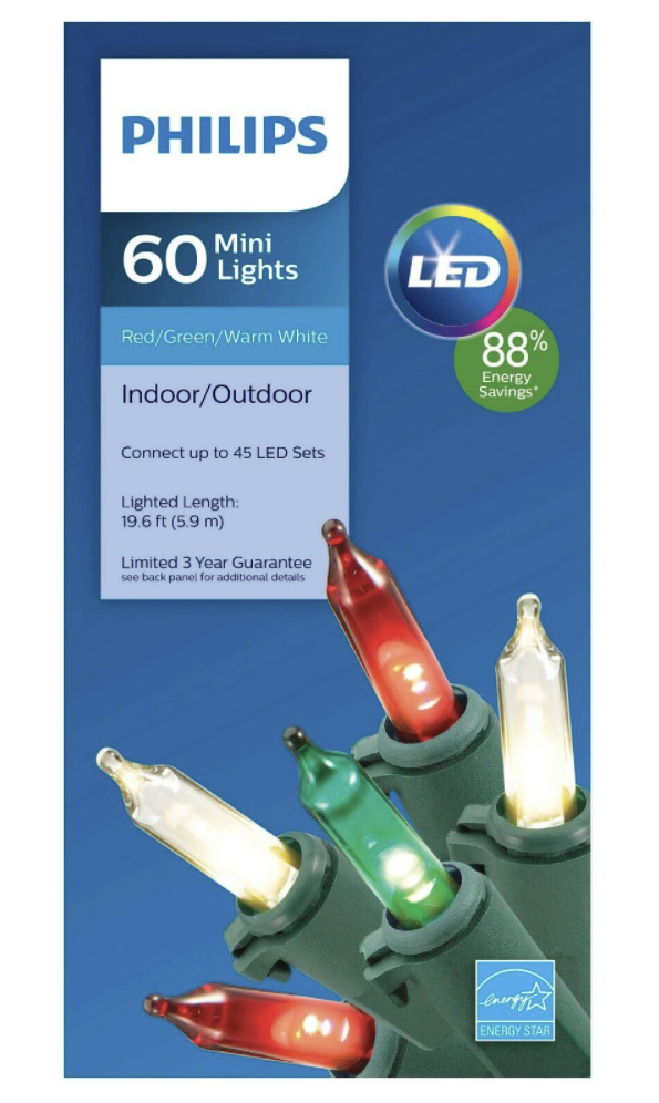 Philips 60ct Christmas LED Smooth Mini String Lights Red White and Green NEW