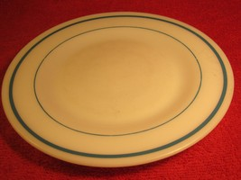 "Vintage FIRE KING 9"" Dinner Plate WHITE with blue rings bands [Z184] - $11.97"