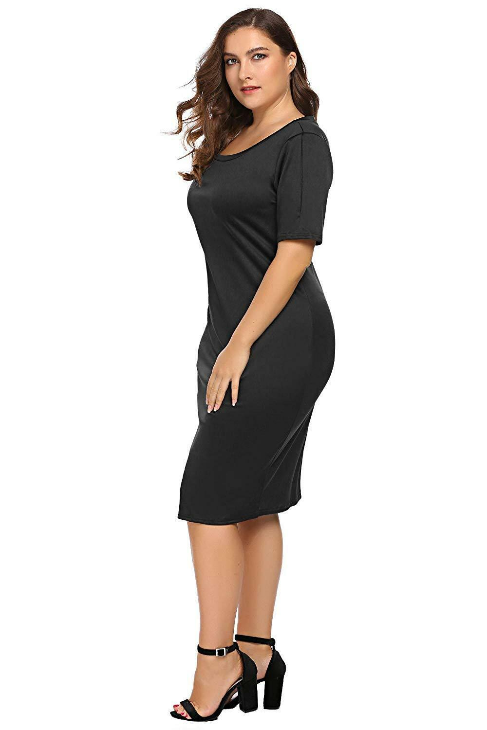 Zeagoo Women Plus Size Loose Fit Short Sleeve O-Neck Casual Midi Dress image 10