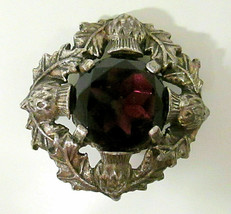 Vtg Signed Miracle Brooch Large Faux Amethyst Celtic Scottish Thistle Pin - $45.00