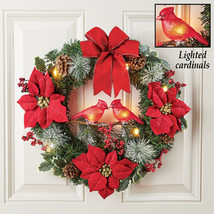 Winter Holiday Light Up Cardinals Couple Wreath, for Front Door or Indoo... - $29.66